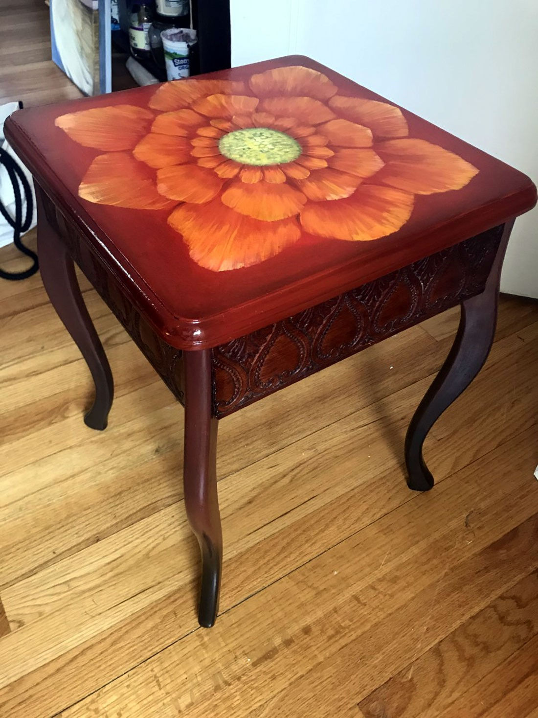 Small End Table With Floral Design